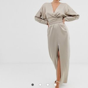 ASOS  taupe long sleeve dress with slit.